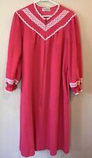 Vintage Vassarette Womens M Robe House Coat Pink Lace Trim Zip Front Usa