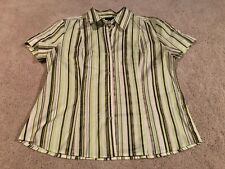 New York & Company Stretch Green and White Stripe Button Down Blouse Size XL