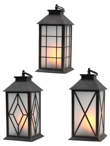 Modern LED Lantern - Brown Rustic Flame Glow Realistic Design Outdoor Indoor Use