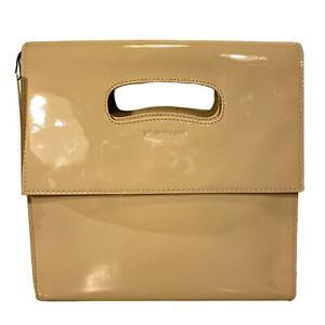 HELMUT LANG Mini Flap Tote Bag Patent Leather Sand Beige Tan (MSRP $495)