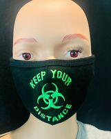 """Keep Your Distance"" Bio Hazard Funny Saying adjustable face mask"