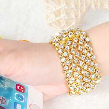 Women's Ladies Fashion Jewelry Gold Rhinestone Bracelet Elastic Adjustable Bling
