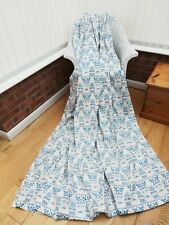 """Curtains William Morris style lined blue & pale pink & white 82"""" W x 96"""" L"""