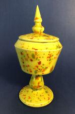 New ListingVintage Art Deco Splatter Paint Pottery Stemmed Cup Retro Pedestal Trinket Dish