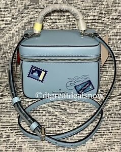 NEW Kate Spade Trunk Crossbody Bon Voyage Off The Grid Blue Leather Bag Novelty