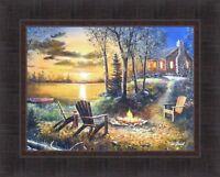 FIRESIDE by Jim Hansel 17x21 FRAMED PRINT Adirondack Chairs Campfire Log Cabin