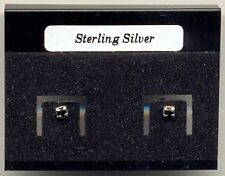 Black Crystal 2mm Sterling Silver 925 Studs Earrings Carded