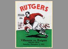 RUTGERS UNIVERSITY FOOTBALL vs Villanova 1933 Vintage Program Cover POSTER