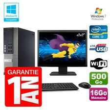 PC Dell 7010 SFF Intel I3-2120 RAM 16 GB Disco 500gb DVD Wifi W7 Pantalla 22""