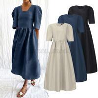 ZANZEA Femme Dress Manche 3/4 Col Rond Robe Couture Loisir Décontracté lâche