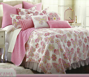 7pc FLORAL Pink Green FULL QUILT SHAMS + SHEETS BED SET flowers butterfly COTTON