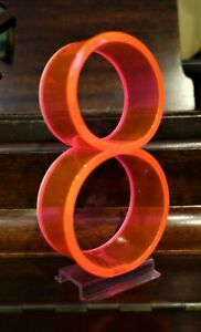 "Vintage Mid Century 1950's Retro Neon Orange Pink Fiber Optic Number 8 Eight 5"""