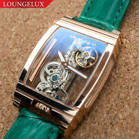 Mens Rose Gold Bridge Manual Mechanical Watch - Green Leather DIASTERIA 1688