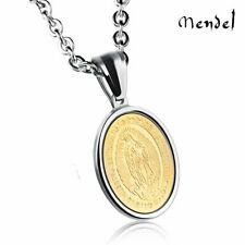 MENDEL Stainless Steel Catholic Our Lady Of Guadalupe Gold Pendant Necklace 14k