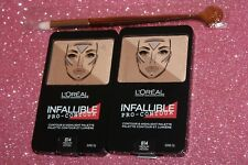 2X L'OREAL INFALLIBLE PRO-CONTOUR PALETTE #814 MEDIUM  0.24 OZ + BRUSH