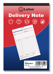 NCR Delivery Note Duplicate Delivery Book Pad Preprinted 50 Sets Carbonless A5