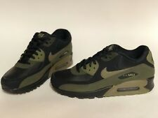 NIB MENS SIZE 8 NIKE AIR MAX 90 LEATHER SNEAKERS BLACK OLIVE 302519-014