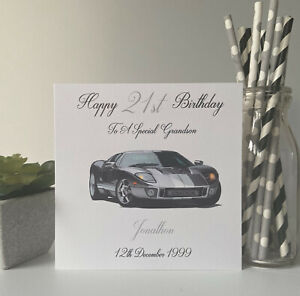 Personalised Birthday Card Sports Car Son Grandson Nephew Brother 16 17 18 21