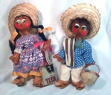 Pair of Mexican Oil Cloth Dolls Male and Female Handmade Painted Vintage Unique