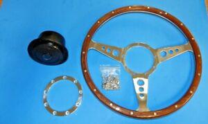 "New 14"" Moto Lita Wood Steering Wheel & Hub Adaptor Sunbeam Alpine Tiger"