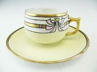 Antique Lusterware Cup & Saucer Germany Pale Yellow Art Deco