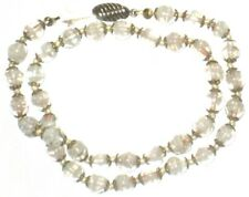 Necklace Copper Moonstone Gold Glass White Gold Clear Beaded Vintage