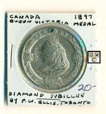 1897 Canada Queen Victoria Diamond Jubilee Medal by P.W. Ellis ,Toronto