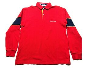 Tommy Hilfiger Mens Red Long Sleeve Polo Rugby Shirt Size Large