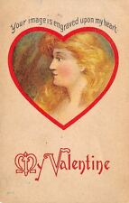 Valentine~Strawberry Blonde Redhead Lady Profile~Image Engraved in Heart~1908