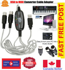 USB IN-OUT MIDI Interface Cord Converter PC to Music Keyboard Adapter Cable Ca