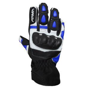 ARMR Eyoshi SHL840 Summer Leather Motorcycle Motorbike Gloves - Black & Blue