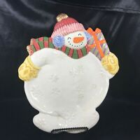 Fitz and Floyd Christmas Snowman Cookie Plate Platter