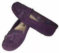 UGG Australia Women's Lizzy Purple Suede Loafers Flats Slip On Shoes 1005475