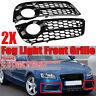 1 Pair Standard Bumper Fog Light Honeycomb Grill Grille Trim For Audi A5 08-2011