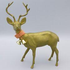 """Vintage Gold Hard Plastic Christmas Reindeer Deer Figurine 7.5"""" Hong Kong"""