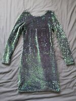 Motel Rocks Women's Green Blue Sequin Dress Size S Small Good Used Condition