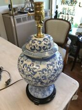 Attractive Blue and White Oriental Table Lamp