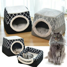 Pet Cat Cave Bed Igloo House Portable Fleece Dog Kennel Crate Nest & Cushion