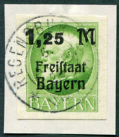 BAVARIA 1920 1,25M on 1m SG253B used NG IMPERF King Ludwig III on piece a3