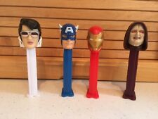 Vintage Heroes-Villain Pez Containers With Feet: ELVIS, Capt. America, Ironman+1