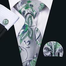 2017 New Design Silk Gray&Green Floral Necktie Hanky Pocket Square 8.5cm N-1604
