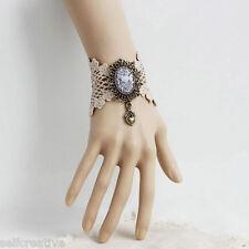 Knitted Lace Filigree Handmade Carved Flower Heart Drop Gothic Vintage Bracelet