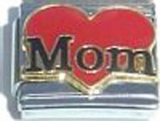 Italian Charm Red Heart Mom Family Love Mother Black