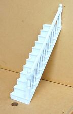 1:12 peint à la main en bois blanc maison de poupées stair case droite fixe bannister rail