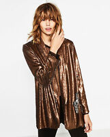 Zara Reversible Sequin Metallic Jacket Copper Silver Blazer S M L BNWT