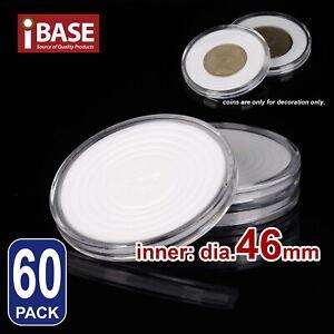 60x Coin Display Case Clear Round Plastic Storage Capsules Holder Box Eva pad