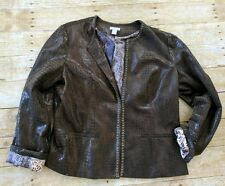 CHICO'S Brown Animal Print Sequined Studs Polyester Blazer Jacket sz Chicos 2