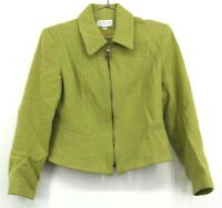 Casual Corner & Co Vintage Women's Medium Wool Blend Full Zip Lime Green Jacket