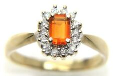 Donna da 9carat Oro Giallo con Diamante e Citrino Grappolo Anello Misura UK O