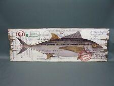 Holzbild Wandbild Bild Fisch 90 cm x 30 cm  vintage chabby chic angeln Heritage